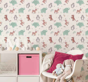 Decorate the bedroom space of your little one in a fun and comfortable ways with our original kids animals wallpaper  made of high quality material.