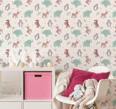 Decora el espacio de la habitación de tu pequeño de una manera divertida con papel pintado animales estilo nórdico ¡Envío a domicilio!