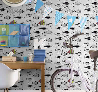 A fish wallpaper designed with beautiful and counter flow direction. The application is easy and it is lovely on any space.