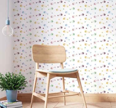 Papel pintado infantil de espinas de pescados coloridos para decorar el cuarto de tu hijo de forma bonita y original. Alta calidad ¡Envío a domicilio!