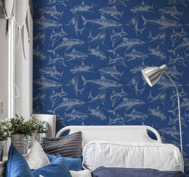 Blue wallpaper with design of fish prints to decorate a home wall space with glam. It is available in any required size dimension.