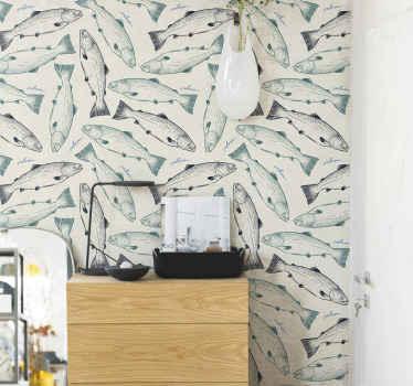 Papel pintado 3D con peces en un estilo exclusivo para que decores la estancia de tu casa que tú elijas. Alta calidad ¡Envío a domicilio!