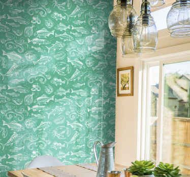 A green wallpaper with the design of underwater fish prints. This design placed on a wall surface is everything to create amazing and luxurious look.