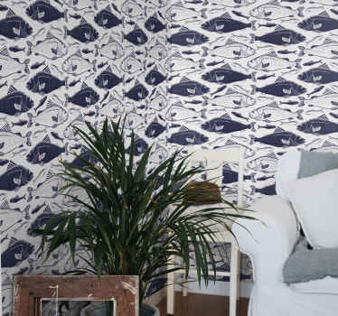 An underwater sea fish print wall paper to decorate a space with glam. It is available in any required dimension and it is easy to apply