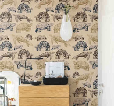 Turtle prints wallpaper decoration for home wall space. It is customisable to meet any of your need and it application is easy.