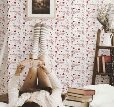 卧室装饰的红色墙纸与多只鸟设计。它易于维护,并采用优质材料制成。