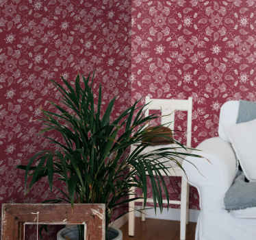 Decorative luxury vinyl wallpaper featured with ornamental paisley patterns on red background. It is easy to apply and highly durable.