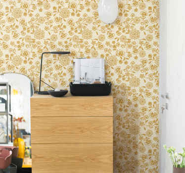 Patterned wallpaper with ornamental paisley flower on a yellow brilliant background. It is easy to apply and made of high quality material.