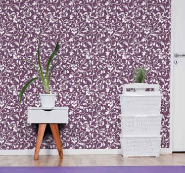 Papel pintado salón de hojas tropicales para decorar tu casa con un patrón paisley de color lila. Alta calidad ¡Envío a domicilio!