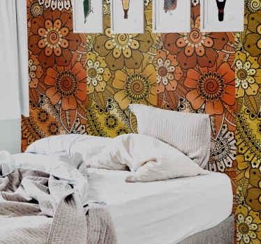 Papel pintado habitación matrimonio con flores grandes de tonos cálidos para llenar tu casa de luz con un estilo retro ¡Envío a domicilio!