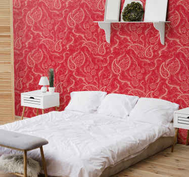 Buy our red colour background wallpaper with ornamental paisley design to beautiful your home space. It is original and easy to apply.