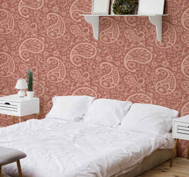 Brown wallpaper with ornamental paisley design for a bedroom decoration. It is made with best quality material and easy to maintain.