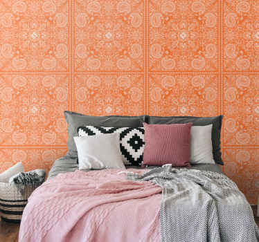 Bring an ornamental design on your bedroom space in our orange colour wallpaper with paisley design. It is easy to apply.