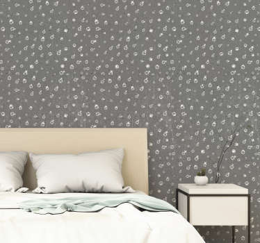 Modern grey patterned wallpaper pearls on concrete is ideal to decorate your living or dining room in an original and modern way.