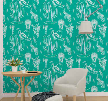 Green colour luxury wallpaper with the design features of cowboy's identity. It is made of good quality material and easy to apply.