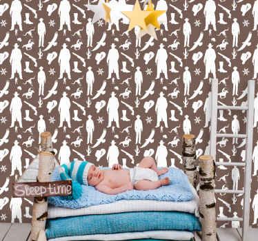 Papier peint cow-boy pour décorer la chambre d'un enfant. Ce papier peint décoratif apportera une ambiance western à une chambre d'enfant !
