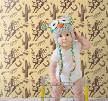 Papier peint chambre pour décorer la chambre des enfants. Il est présenté avec différents éléments de cow-boy. Son application est facile.