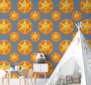 Améliorez la décoration de vos pièces avec ce papier peint cow-boy. Un papier décoratif conçu avec avec des insignes de shérif.