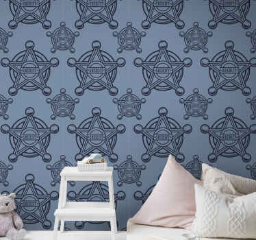 An ideal bedroom wallpaper for children with the design of sheriff badge hosting the name sheriff. It is easy to apply and made of good quality.