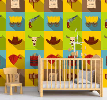 Children bedroom wallpaper with design features of cowboy in a tile colorful background style. It is made with good quality and easy to apply.
