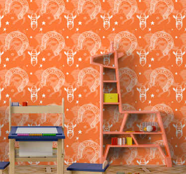 Iconic room wallpaper with cowboy western features design. It is easy to apply without wrinkle effects and it is made with high quality material.