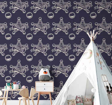An ideal bedroom wallpaper for children with the design of sheriff badge. It is customisable with any name of choice. It application is very easy.
