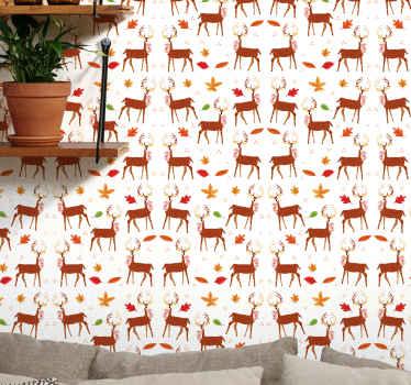 Un tapet decorativ pentru animale de cerb pentru dormitorul copiilor. Un decor minunat pentru a spori spațiul oricărui copil cu atingerea unei jungle frumoase.