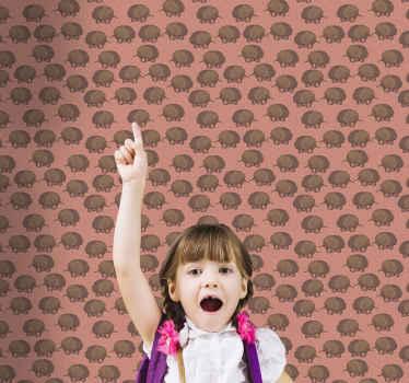 Papel pintado infantil de erizos y puntos sobre fondo marrón. El diseño presenta estampados perfectos para decorar ¡Envío a domicilio!