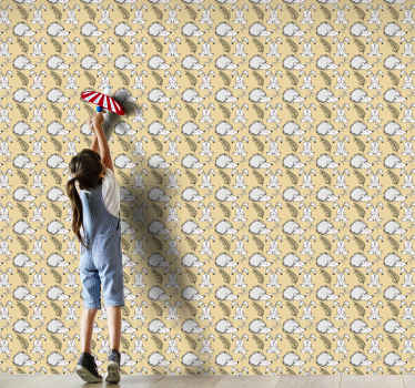 Diseño de papel pared animales con erizos y conejos para dormitorio infantil. Diseño divertido para decorar ¡Envío a domicilio!