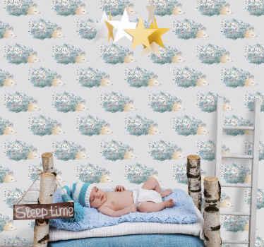 Un papel pintado animales con erizos para dormitorio de niños con un diseño adorable y bonito con el que se sentirán mejor ¡Envío a domicilio!