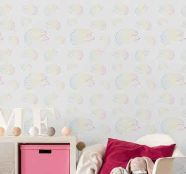 Hermoso papel pintado infantil de erizos coloridos para la decoración del dormitorio de los niños. Es fácil de aplicar ¡Envío a domicilio!