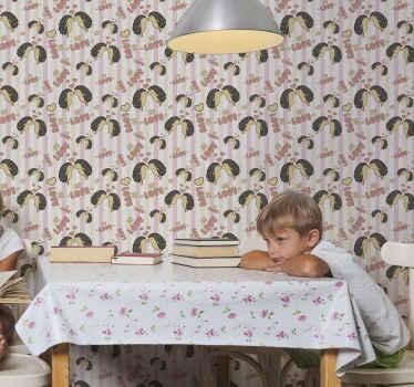 Papel pared infantil con estampado de erizos e impresiones en hermosos colores. El diseño muestra dos erizos enamorados ¡Compra online!