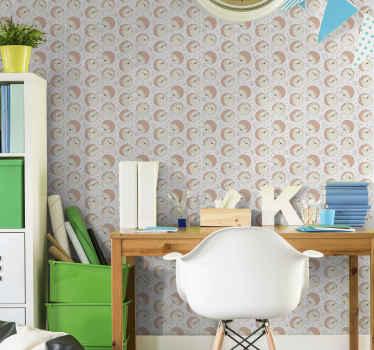 Papel pintado animales infantil con patrón de erizos. Diseño adorable para habitación de niña fácil de colocar ¡Envío a domicilio!