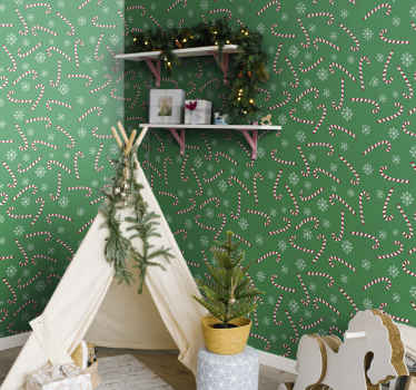 Green background wallpaper design featured with ornamental snowflakes design and candy sticks. It is easy to apply and of good quality.