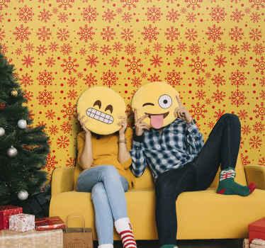 Flocos de neve modelam produtode papel de parede de natal com um fundo amarelo que seria adorável para decorar um espaço de sala de estar para o natal.