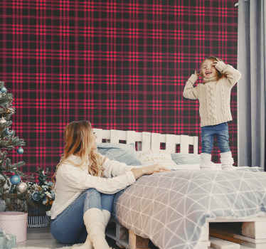 Christmas tartan pattern striped wallpaper design made in red and black colour. It is easy to apply and of great quality.
