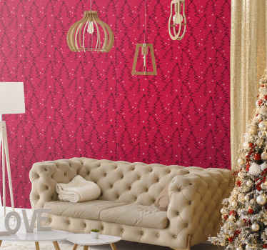 Christmas featured wallpaper design nice for a living room.  It is a red background design with ornamental Christmas tree design.