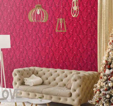 圣诞特色壁纸设计非常适合客厅。它是带有装饰圣诞树设计的红色背景设计。
