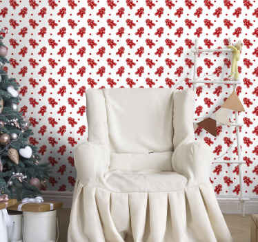 Bella idea decorativa per carta da parati natalizia per casa e luogo di lavoro. Il design è caratterizzato da stampe di pupazzi di neve natalizi in colore rosso.