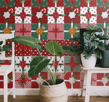 Decoratief kerst geschenkverpakking behang ontworpen gekenmerkt met verschillende stijlen van geschenkdozen. Het is gemakkelijk aan te brengen en gemaakt van hoogwaardig materiaal.