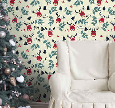 Featured reindeer Christmas wallpaper design for home decoration. It is easy to apply and made from high quality material.