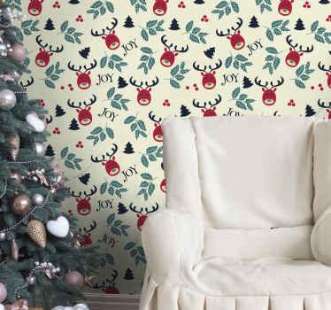 Caratterizzato da un design di carta da parati natalizia con renne per la decorazione domestica. è facile da applicare e realizzato con materiale di alta qualità.