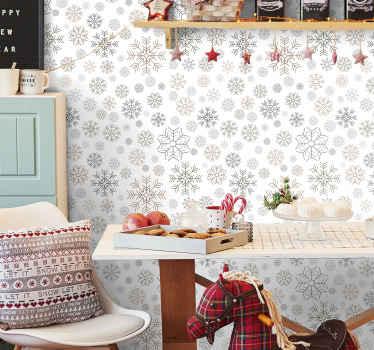 Flocos de neve padrão de produtode papel de parede de natal que seria adorável para decorar um espaço de sala de estar no natal. é fácil de aplicar e de qualidade.