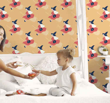 Prefect bedroom Halloween wallpaper for your little girl. The design contains different prints of a young Halloween fairy witch.