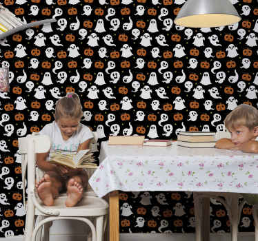 Decorative featured Halloween wallpaper for room with different ghost and pumpkins illustrations. It is original, durable and really easy to apply.