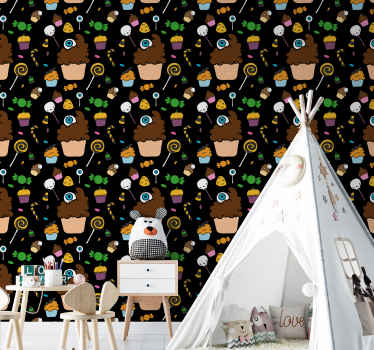 Halloween bedroom decoration for children. The design host various cupcakes and candy designs depicting Halloween figures such as pumpkins, ghost etc.