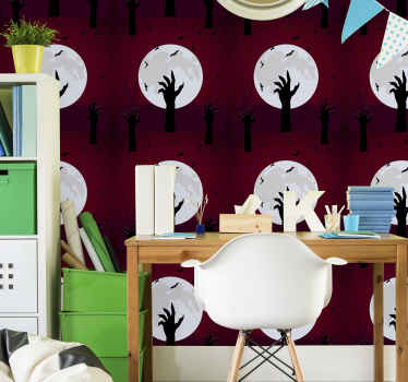 Beautiful Halloween wallpaper for bedroom and living room. A realistic appearance of  skeleton hands thrusting from graves.