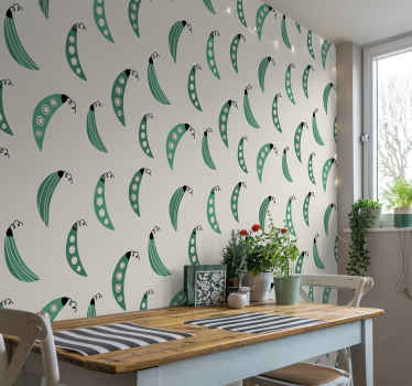 Cover the wall surface of a kitchen with this amazing kitchen theme wallpaper made with the design of green peas on a grey background.