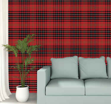 Decorative Scottish tartan stripe pattern wallpaper to decorate your home in classic and vintage style. It is original and easy to apply.