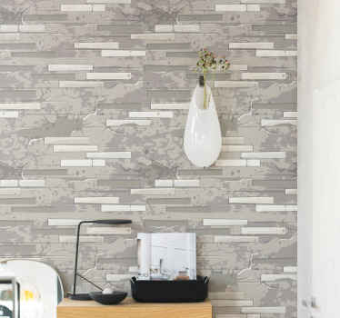 Brick texture vinyl wallpaper imitating a real laid up brick wall surface with abstract grey patches all over. Made with high quality material.